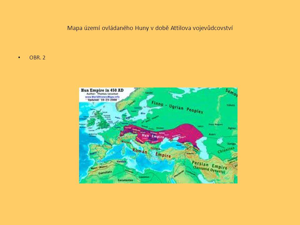 Mapa území ovládaného Huny v době Attilova vojevůdcovství OBR. 2