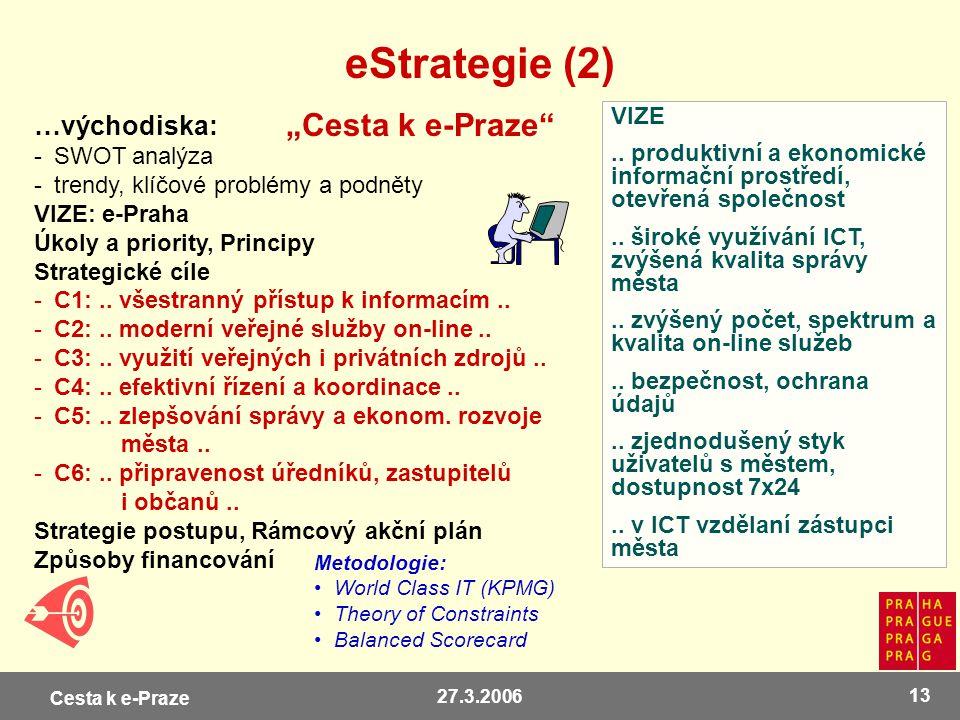 Cesta k e-Praze 27.3.2006 13 eStrategie (2) …východiska: -SWOT analýza -trendy, klíčové problémy a podněty VIZE: e-Praha Úkoly a priority, Principy St