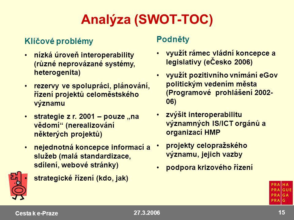 Cesta k e-Praze 27.3.2006 15 Analýza (SWOT-TOC) Klíčové problémy nízká úroveň interoperability (různé neprovázané systémy, heterogenita) rezervy ve sp