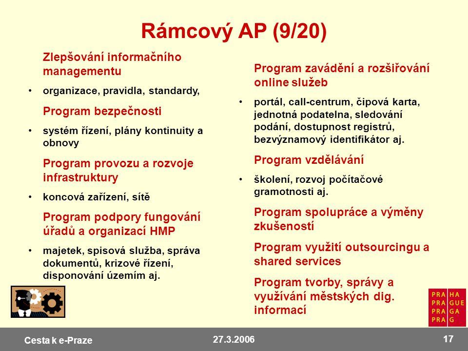 Cesta k e-Praze 27.3.2006 17 Rámcový AP (9/20) Zlepšování informačního managementu organizace, pravidla, standardy, Program bezpečnosti systém řízení,