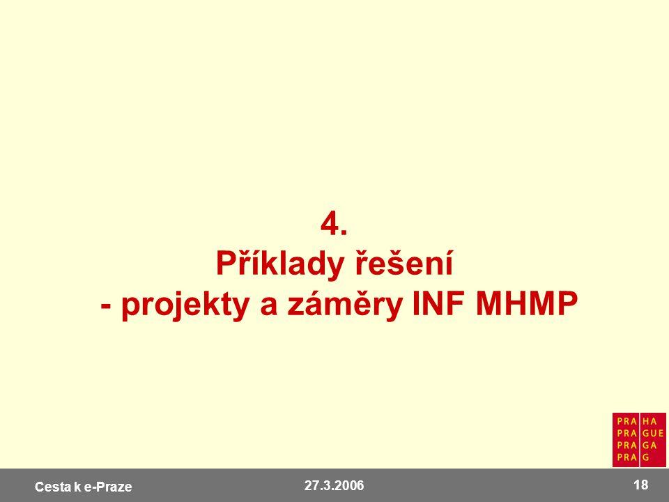 Cesta k e-Praze 27.3.2006 18 4. Příklady řešení - projekty a záměry INF MHMP
