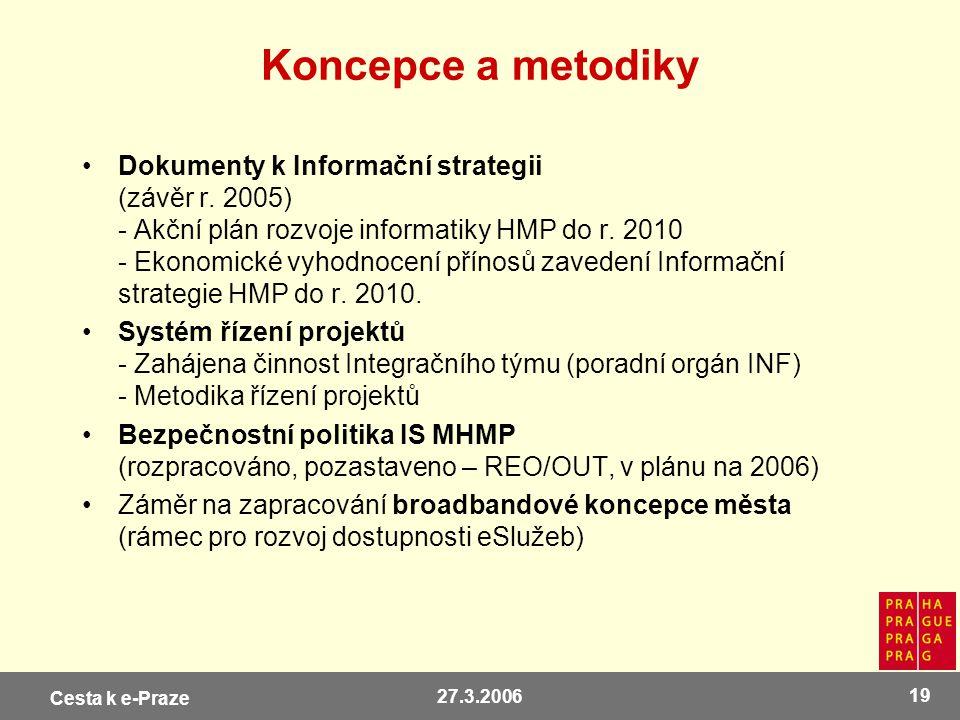 Cesta k e-Praze 27.3.2006 19 Koncepce a metodiky Dokumenty k Informační strategii (závěr r. 2005) - Akční plán rozvoje informatiky HMP do r. 2010 - Ek