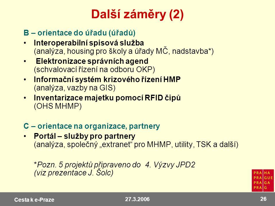 Cesta k e-Praze 27.3.2006 26 Další záměry (2) B – orientace do úřadu (úřadů) Interoperabilní spisová služba (analýza, housing pro školy a úřady MČ, na