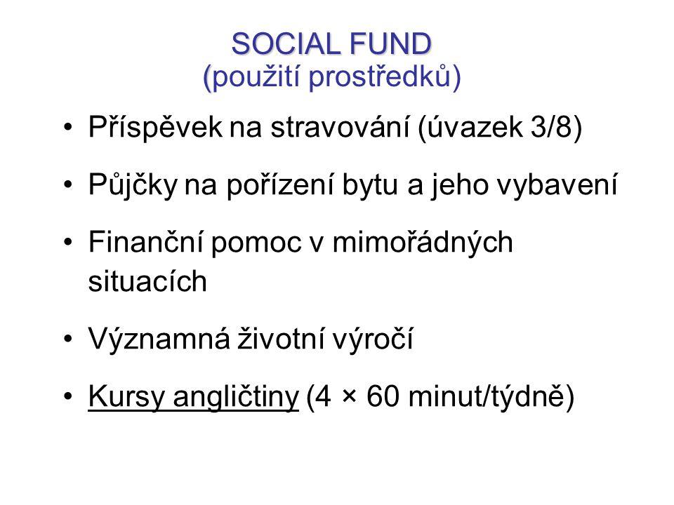 SOCIAL FUND ( SOCIAL FUND (použití prostředků) Příspěvek na stravování (úvazek 3/8) Půjčky na pořízení bytu a jeho vybavení Finanční pomoc v mimořádných situacích Významná životní výročí Kursy angličtiny (4 × 60 minut/týdně)