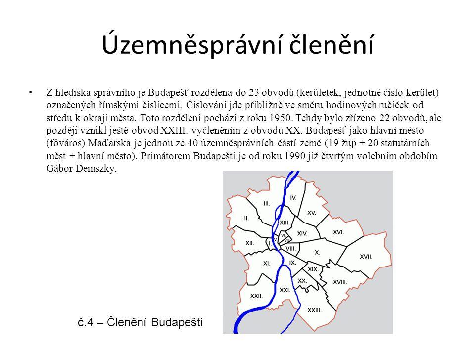 Územněsprávní členění Z hlediska správního je Budapešť rozdělena do 23 obvodů (kerületek, jednotné číslo kerület) označených římskými číslicemi.