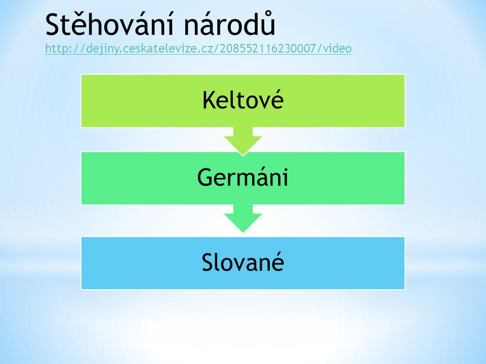 http://dejiny.ceskatelevize.cz/208552116230007/video Stěhování národů Slované Germáni Keltové