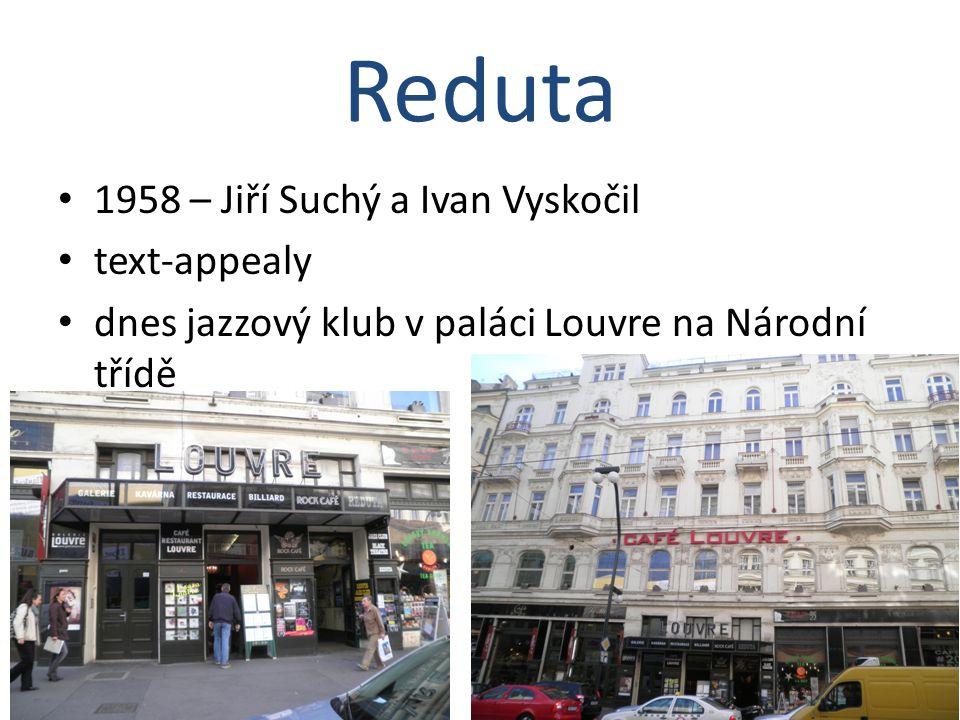 1958 – Jiří Suchý a Ivan Vyskočil text-appealy dnes jazzový klub v paláci Louvre na Národní třídě