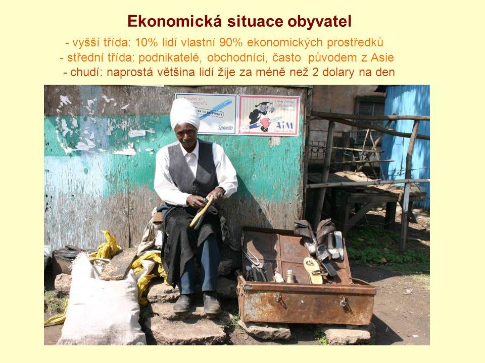 Ekonomická situace obyvatel - vyšší třída: 10% lidí vlastní 90% ekonomických prostředků - střední třída: podnikatelé, obchodníci, často původem z Asie