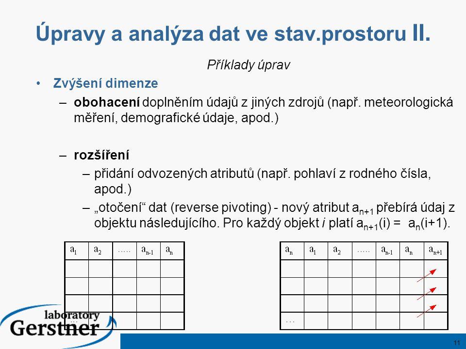 11 Úpravy a analýza dat ve stav.prostoru II. Příklady úprav Zvýšení dimenze –obohacení doplněním údajů z jiných zdrojů (např. meteorologická měření, d