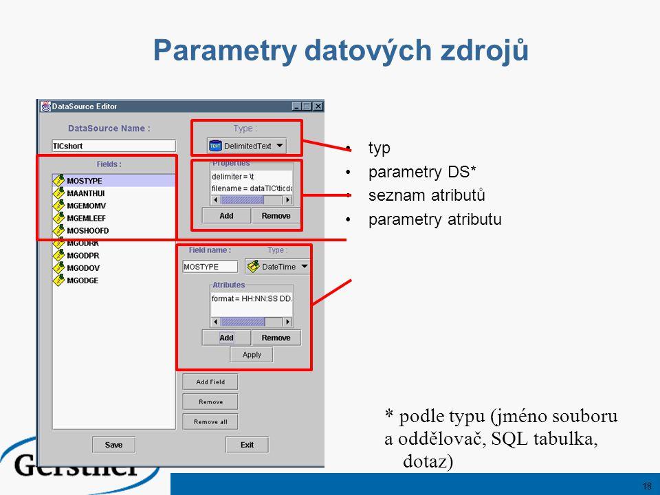 18 Parametry datových zdrojů typ parametry DS* seznam atributů parametry atributu * podle typu (jméno souboru a oddělovač, SQL tabulka, dotaz)