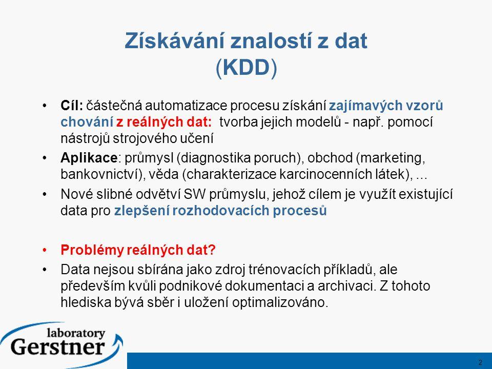 2 Získávání znalostí z dat (KDD) Cíl: částečná automatizace procesu získání zajímavých vzorů chování z reálných dat: tvorba jejich modelů - např.