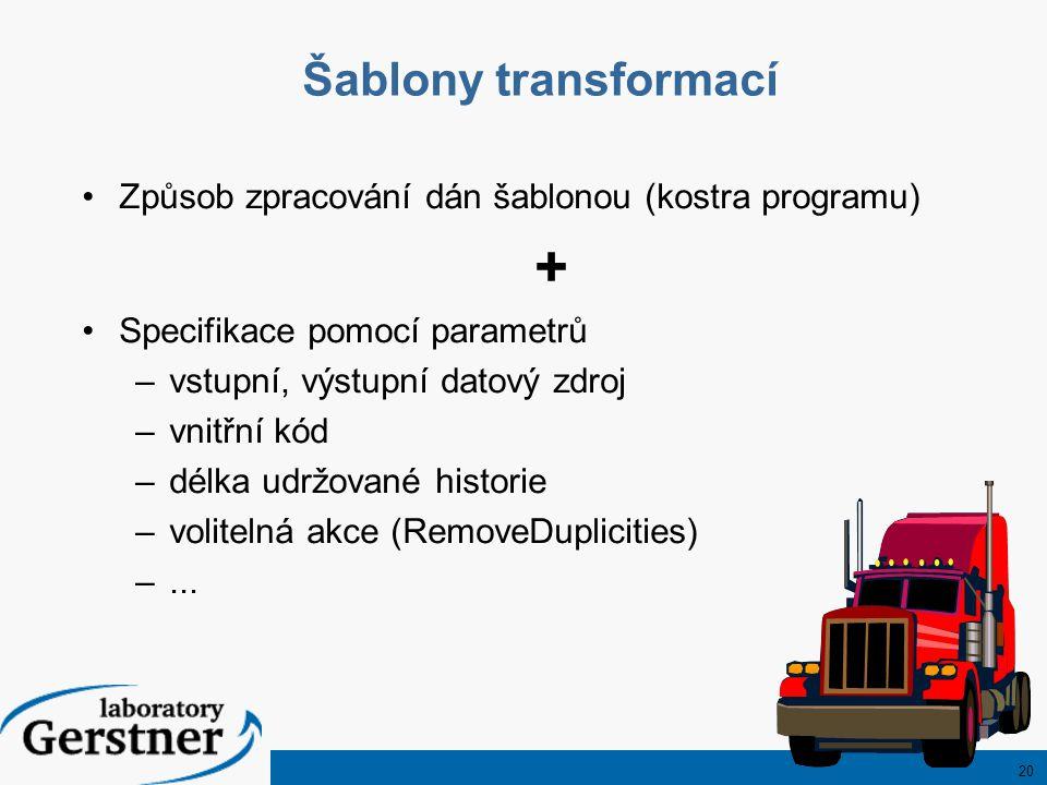 20 Šablony transformací Způsob zpracování dán šablonou (kostra programu) + Specifikace pomocí parametrů –vstupní, výstupní datový zdroj –vnitřní kód –délka udržované historie –volitelná akce (RemoveDuplicities) –...
