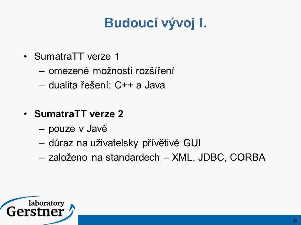 28 Budoucí vývoj I. SumatraTT verze 1 –omezené možnosti rozšíření –dualita řešení: C++ a Java SumatraTT verze 2 –pouze v Javě –důraz na uživatelsky př