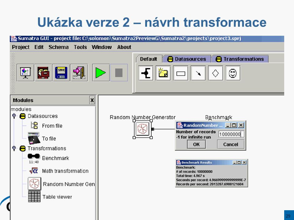 29 Ukázka verze 2 – návrh transformace