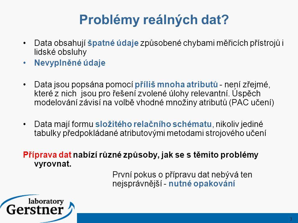3 Problémy reálných dat? Data obsahují špatné údaje způsobené chybami měřicích přístrojů i lidské obsluhy Nevyplněné údaje Data jsou popsána pomocí př