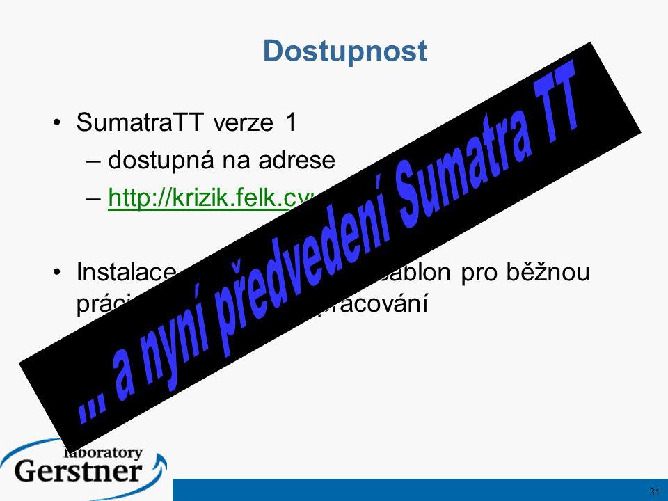 31 SumatraTT verze 1 –dostupná na adrese –http://krizik.felk.cvut.cz/Sumatrahttp://krizik.felk.cvut.cz/Sumatra Instalace obsahuje i sadu šablon pro běžnou práci i pro složitější zpracování Dostupnost