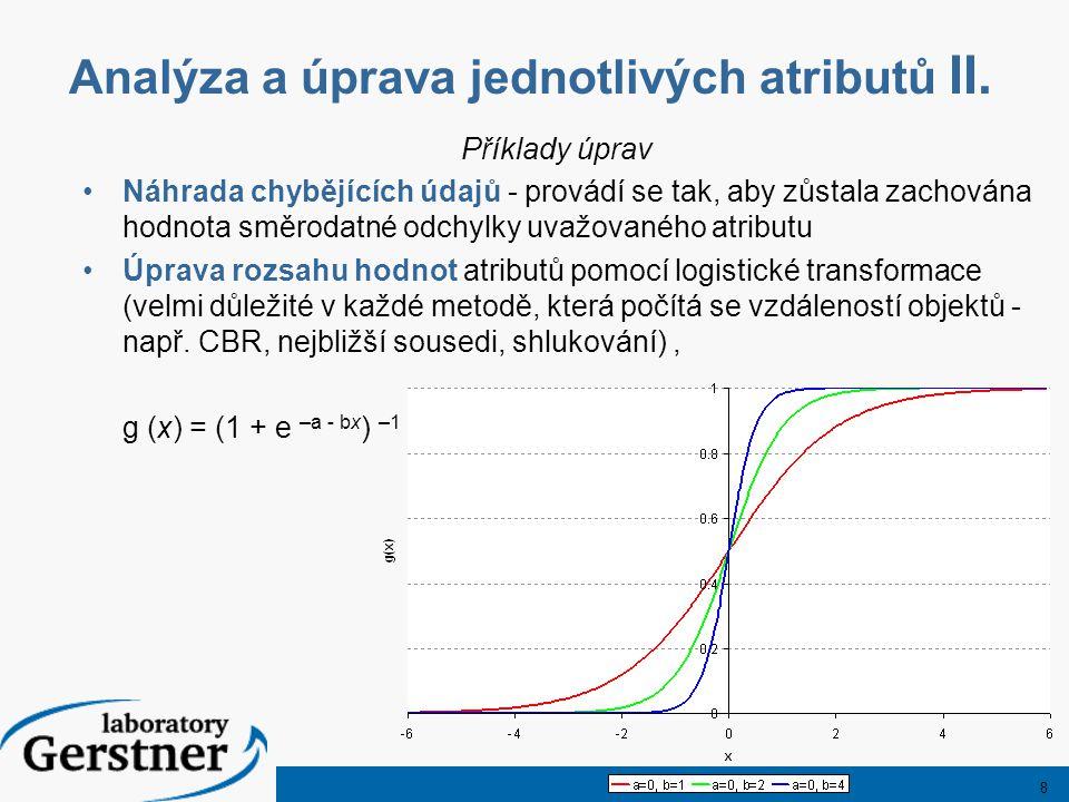 8 Analýza a úprava jednotlivých atributů II. Příklady úprav Náhrada chybějících údajů - provádí se tak, aby zůstala zachována hodnota směrodatné odchy