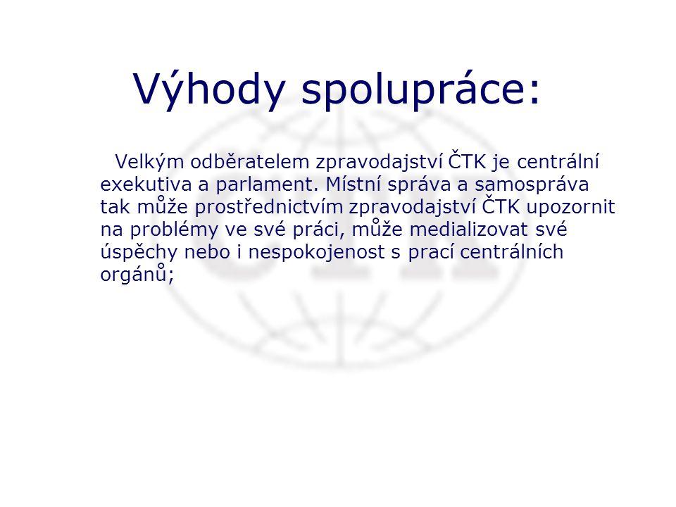 Výhody spolupráce: Velkým odběratelem zpravodajství ČTK je centrální exekutiva a parlament.
