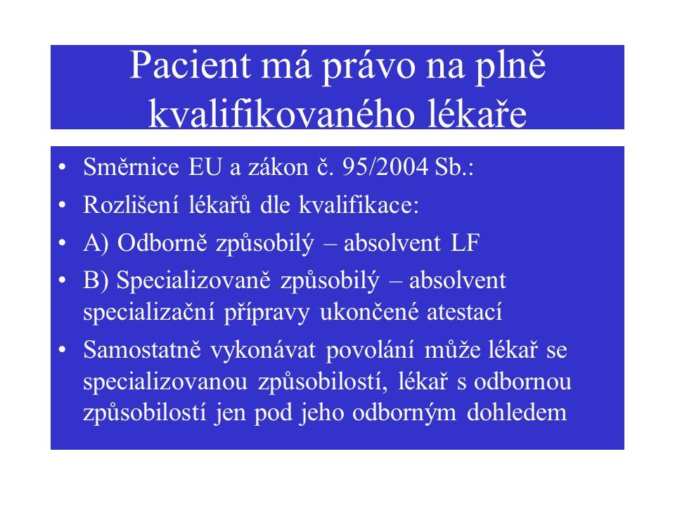 Pacient má právo na plně kvalifikovaného lékaře Směrnice EU a zákon č. 95/2004 Sb.: Rozlišení lékařů dle kvalifikace: A) Odborně způsobilý – absolvent