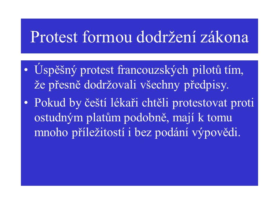 Protest formou dodržení zákona Úspěšný protest francouzských pilotů tím, že přesně dodržovali všechny předpisy. Pokud by čeští lékaři chtěli protestov