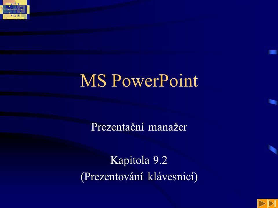 Prezentování klávesnicí Celou prezentaci lze ovládat za pomoci klávesnice.