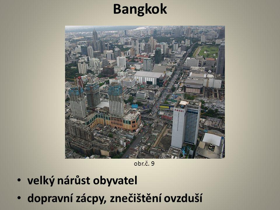 Bangkok velký nárůst obyvatel dopravní zácpy, znečištění ovzduší obr.č. 9