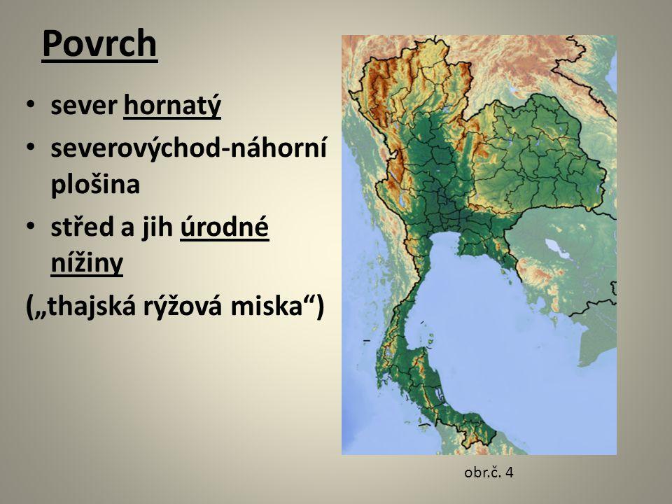 """Povrch sever hornatý severovýchod-náhorní plošina střed a jih úrodné nížiny (""""thajská rýžová miska ) obr.č."""
