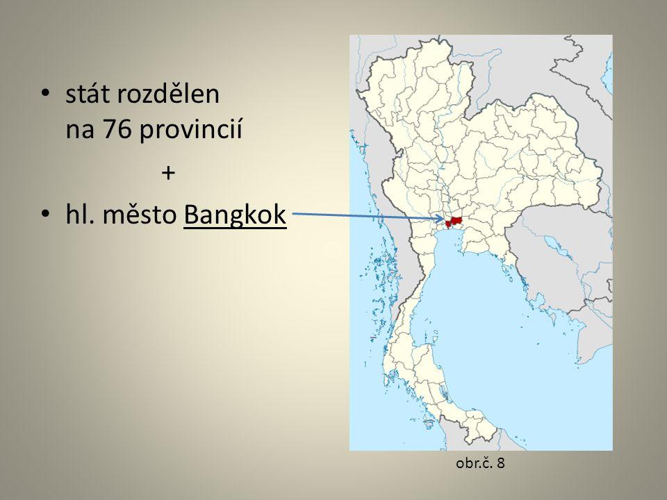 stát rozdělen na 76 provincií + hl. město Bangkok obr.č. 8