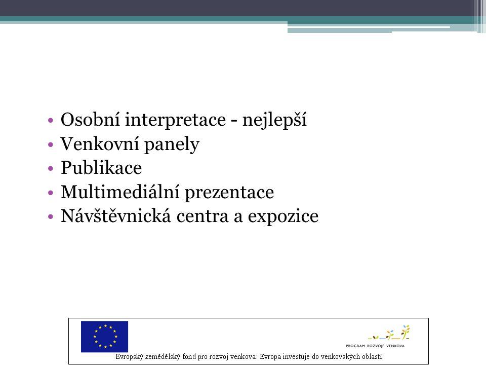 Osobní interpretace - nejlepší Venkovní panely Publikace Multimediální prezentace Návštěvnická centra a expozice