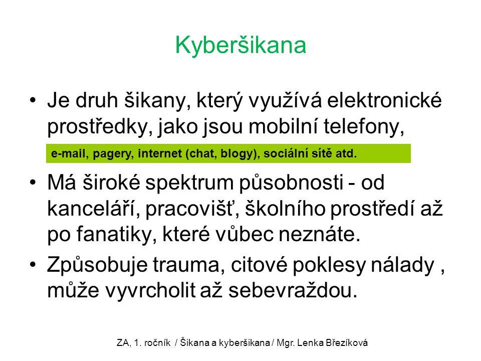 Kyberšikana Je druh šikany, který využívá elektronické prostředky, jako jsou mobilní telefony,........................................................