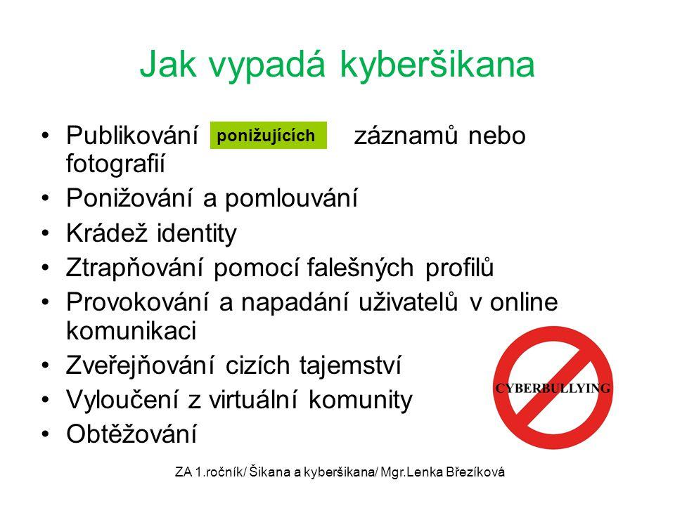 Jak vypadá kyberšikana Publikování......... záznamů nebo fotografií Ponižování a pomlouvání Krádež identity Ztrapňování pomocí falešných profilů Provo