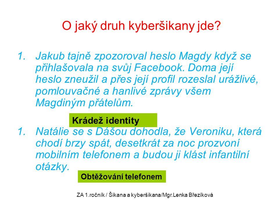 O jaký druh kyberšikany jde? 1.Jakub tajně zpozoroval heslo Magdy když se přihlašovala na svůj Facebook. Doma její heslo zneužil a přes její profil ro