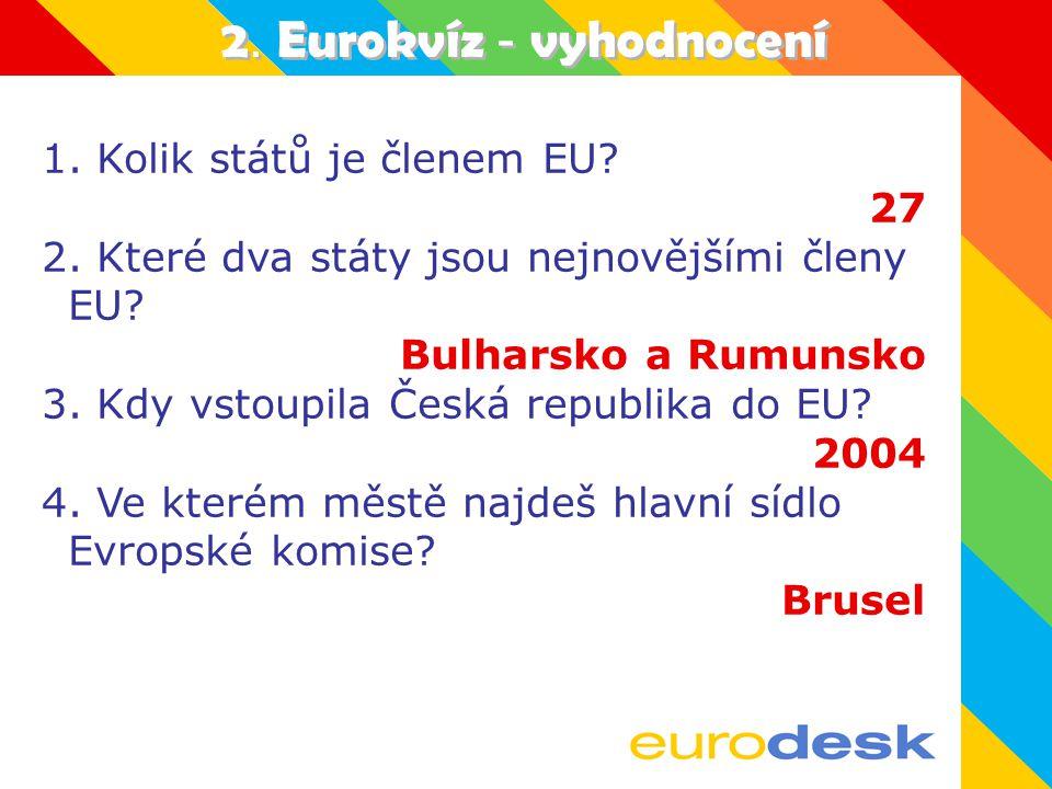 2.Eurokvíz - vyhodnocení 1. Kolik států je členem EU.