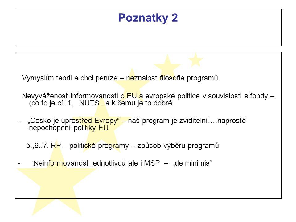 Poznatky 2 Vymyslím teorii a chci peníze – neznalost filosofie programů Nevyváženost informovanosti o EU a evropské politice v souvislosti s fondy – (co to je cíl 1, NUTS..