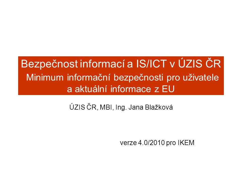 Bezpečnost informací a IS/ICT v ÚZIS ČR Minimum informační bezpečnosti pro uživatele a aktuální informace z EU ÚZIS ČR, MBI, Ing. Jana Blažková verze