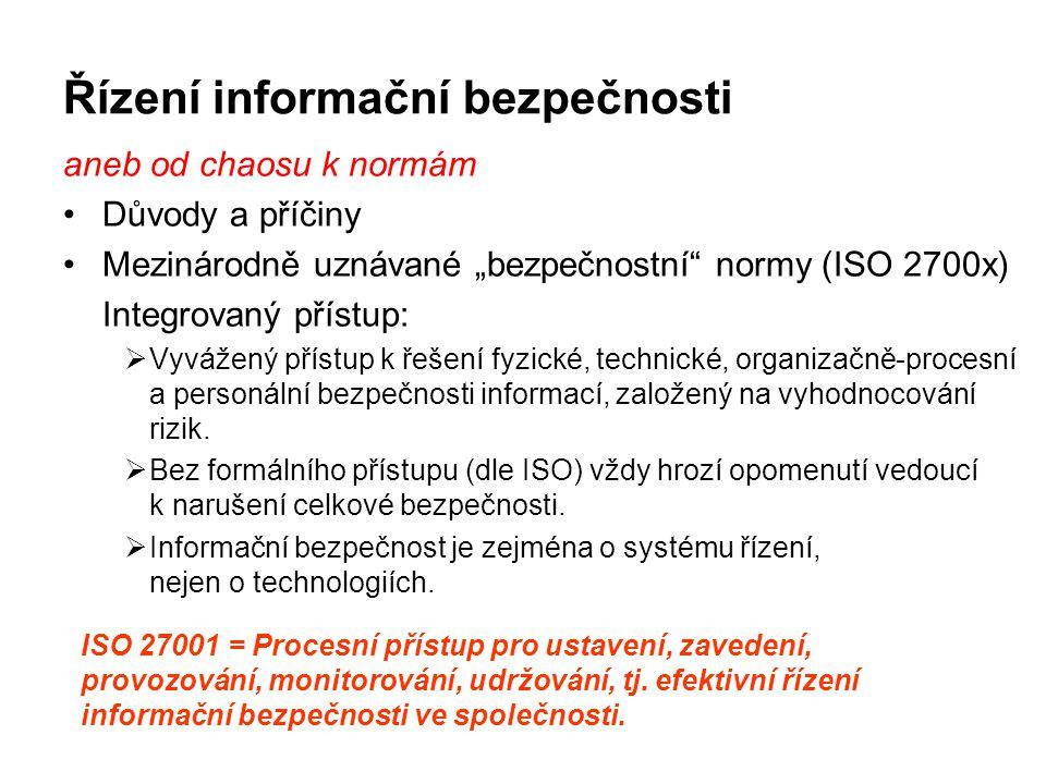 """Řízení informační bezpečnosti aneb od chaosu k normám Důvody a příčiny Mezinárodně uznávané """"bezpečnostní"""" normy (ISO 2700x) Integrovaný přístup:  Vy"""