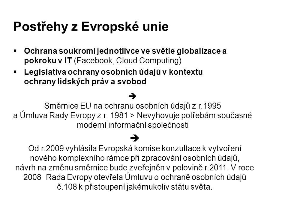 Postřehy z Evropské unie  Ochrana soukromí jednotlivce ve světle globalizace a pokroku v IT (Facebook, Cloud Computing)  Legislativa ochrany osobníc