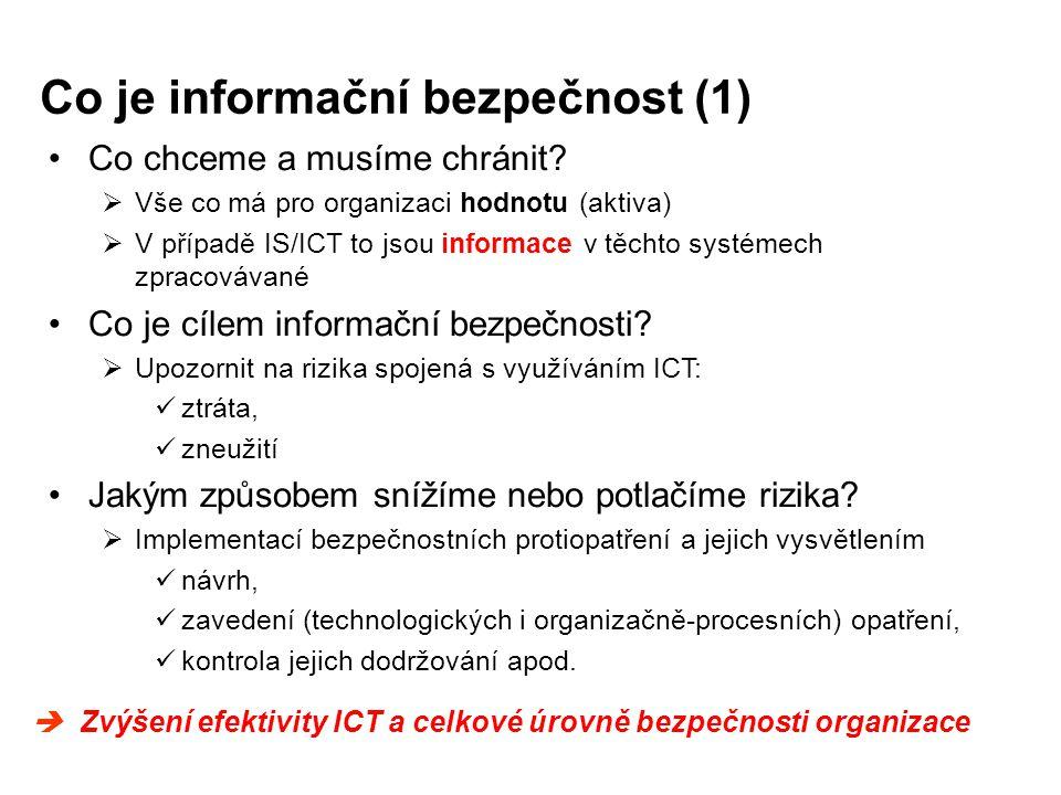 Co je informační bezpečnost (1) Co chceme a musíme chránit?  Vše co má pro organizaci hodnotu (aktiva)  V případě IS/ICT to jsou informace v těchto