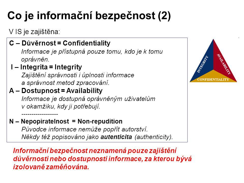 Co je informační bezpečnost (2) V IS je zajištěna: Informační bezpečnost neznamená pouze zajištění důvěrnosti nebo dostupnosti informace, za kterou bý