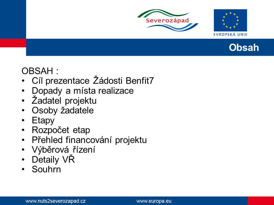 OBSAH : Cíl prezentace Žádosti Benfit7 Dopady a místa realizace Žadatel projektu Osoby žadatele Etapy Rozpočet etap Přehled financování projektu Výběrová řízení Detaily VŘ Souhrn Obsah