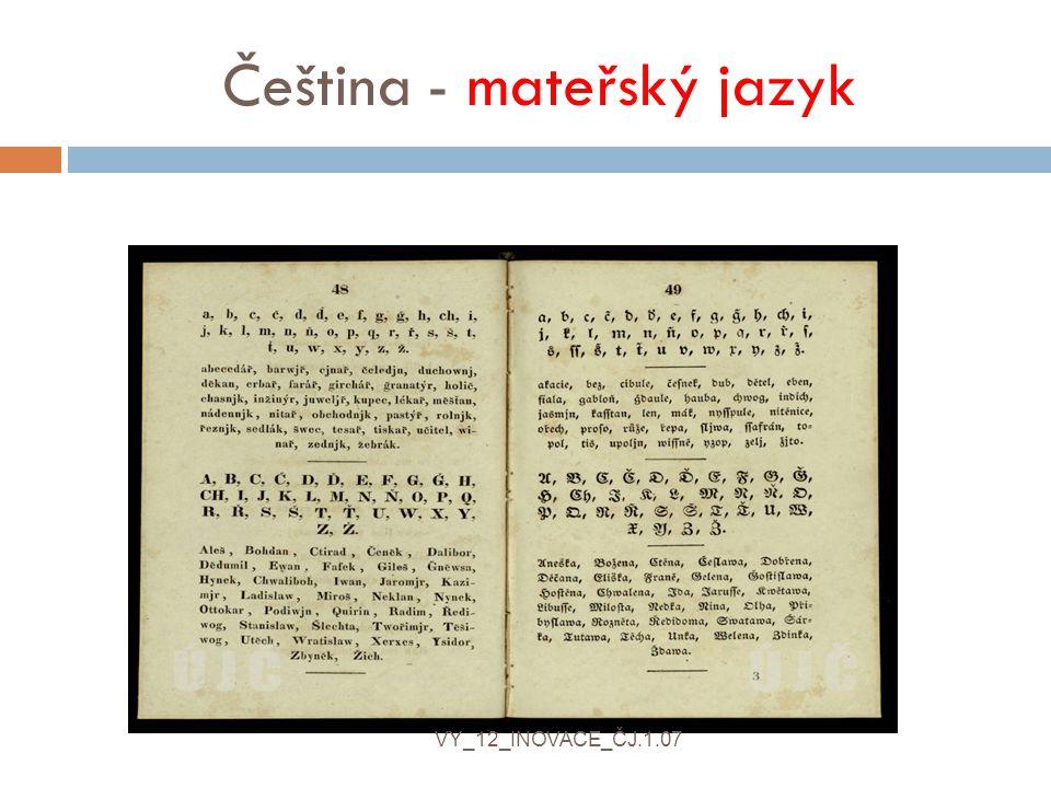 Čeština - mateřský jazyk VY_12_INOVACE_ČJ.1.07
