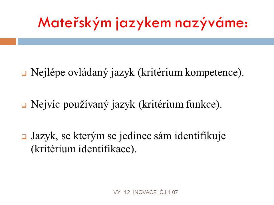 Mateřským jazykem nazýváme:  Nejlépe ovládaný jazyk (kritérium kompetence).  Nejvíc používaný jazyk (kritérium funkce).  Jazyk, se kterým se jedine