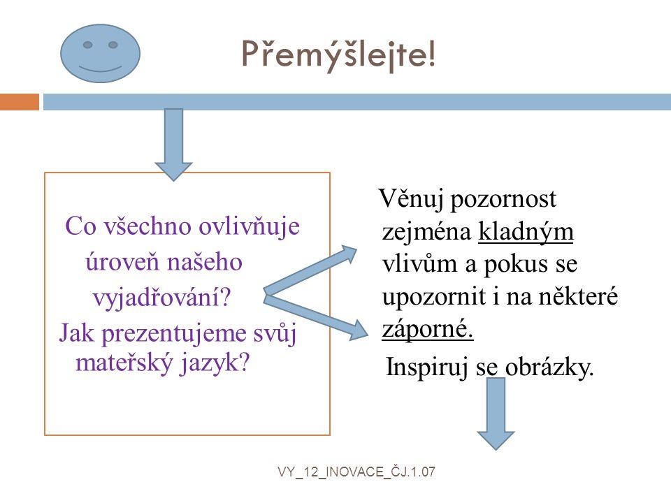 Přemýšlejte! Co všechno ovlivňuje úroveň našeho vyjadřování? Jak prezentujeme svůj mateřský jazyk? Věnuj pozornost zejména kladným vlivům a pokus se u