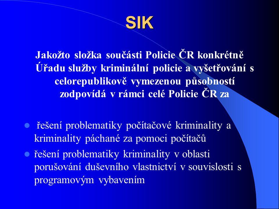 SIK Jakožto složka součásti Policie ČR konkrétně Úřadu služby kriminální policie a vyšetřování s celorepublikově vymezenou působností zodpovídá v rámc