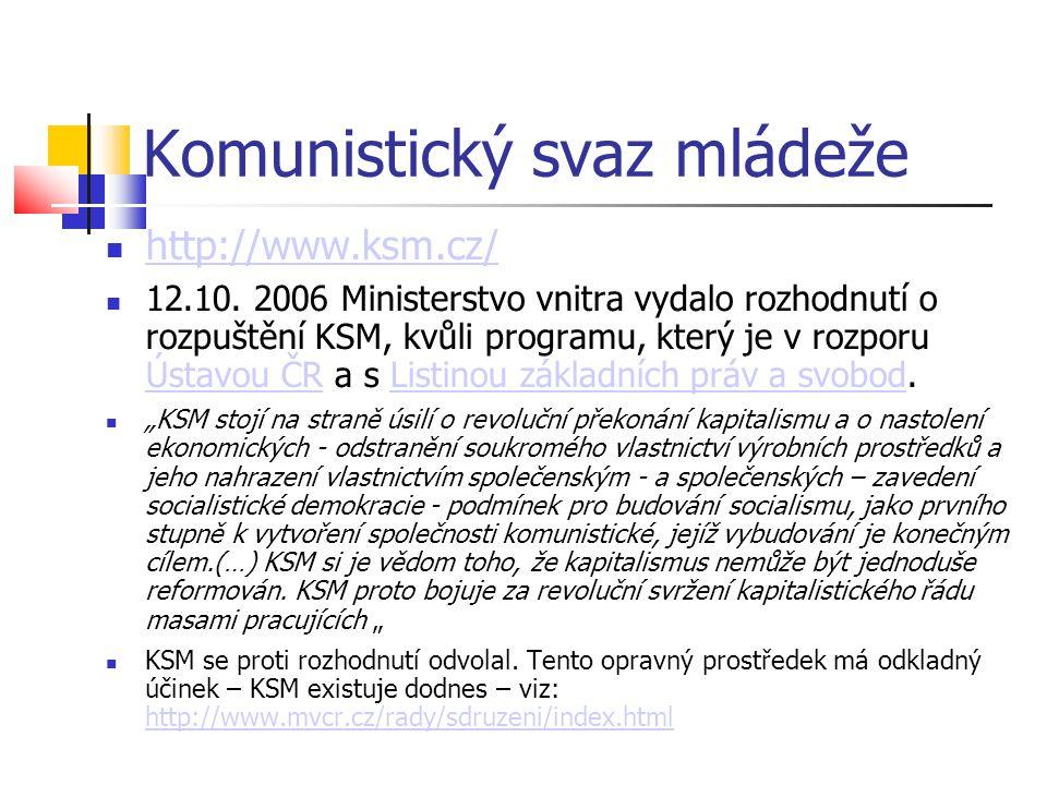 Komunistický svaz mládeže http://www.ksm.cz/ 12.10. 2006 Ministerstvo vnitra vydalo rozhodnutí o rozpuštění KSM, kvůli programu, který je v rozporu Ús