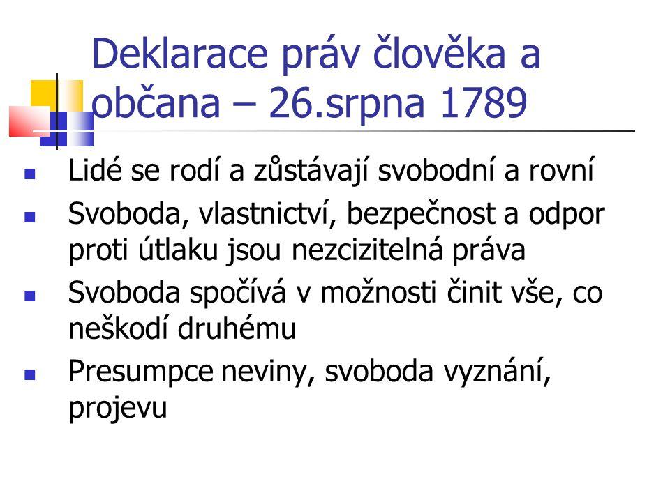 Deklarace práv člověka a občana – 26.srpna 1789 Lidé se rodí a zůstávají svobodní a rovní Svoboda, vlastnictví, bezpečnost a odpor proti útlaku jsou n