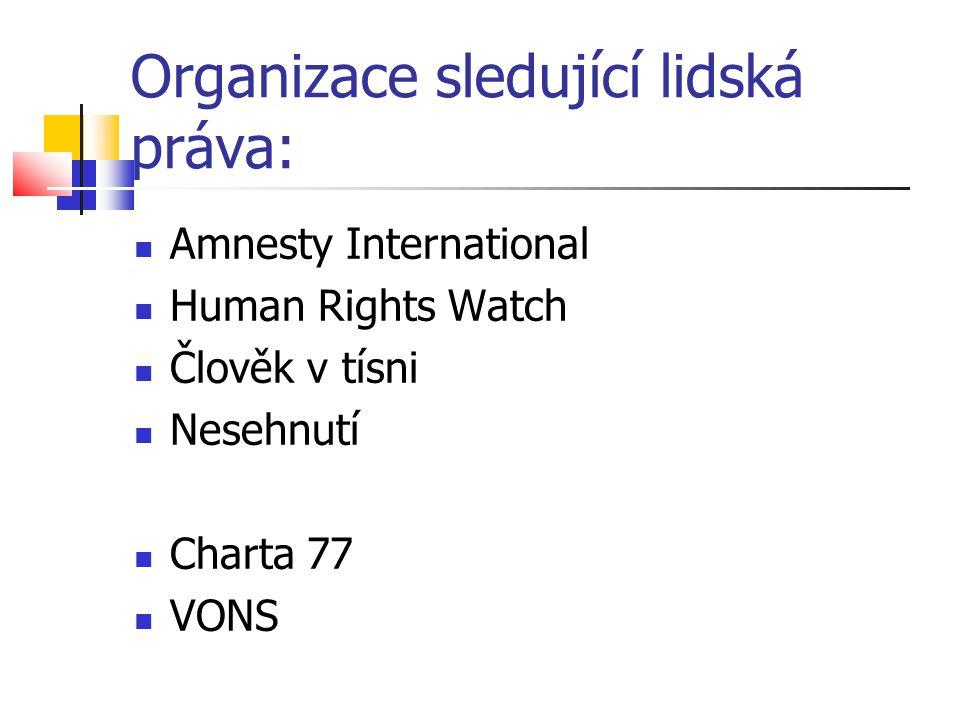 Organizace sledující lidská práva: Amnesty International Human Rights Watch Člověk v tísni Nesehnutí Charta 77 VONS