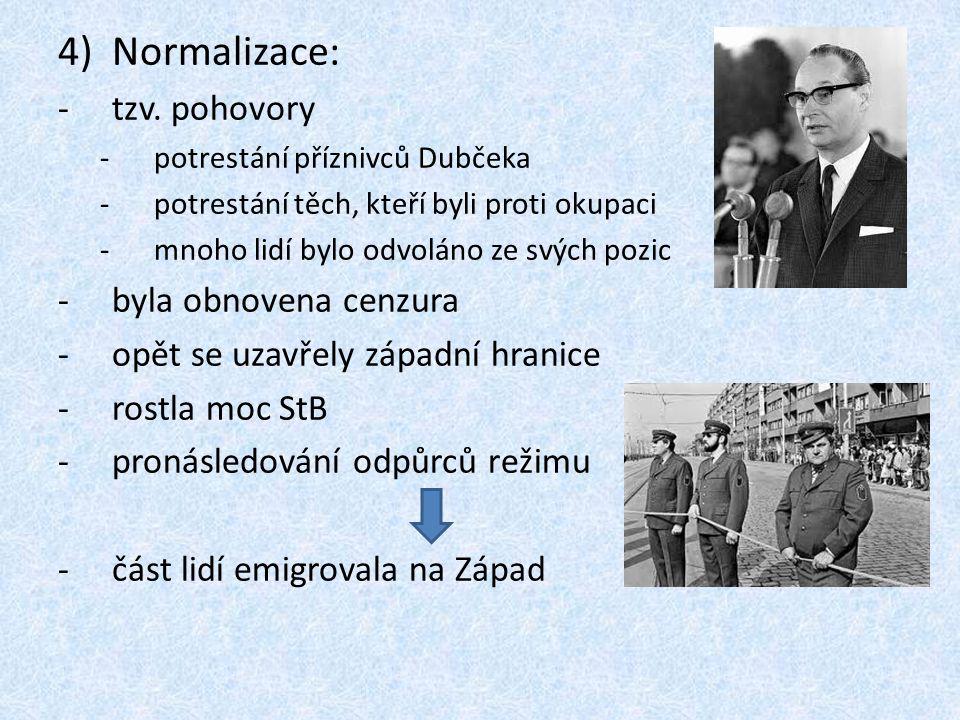 4)Normalizace: -tzv. pohovory -potrestání příznivců Dubčeka -potrestání těch, kteří byli proti okupaci -mnoho lidí bylo odvoláno ze svých pozic -byla