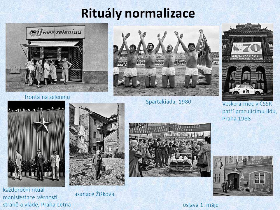 Rituály normalizace fronta na zeleninu Spartakiáda, 1980 Veškerá moc v ČSSR patří pracujícímu lidu, Praha 1988 každoroční rituál manisfestace věrnosti
