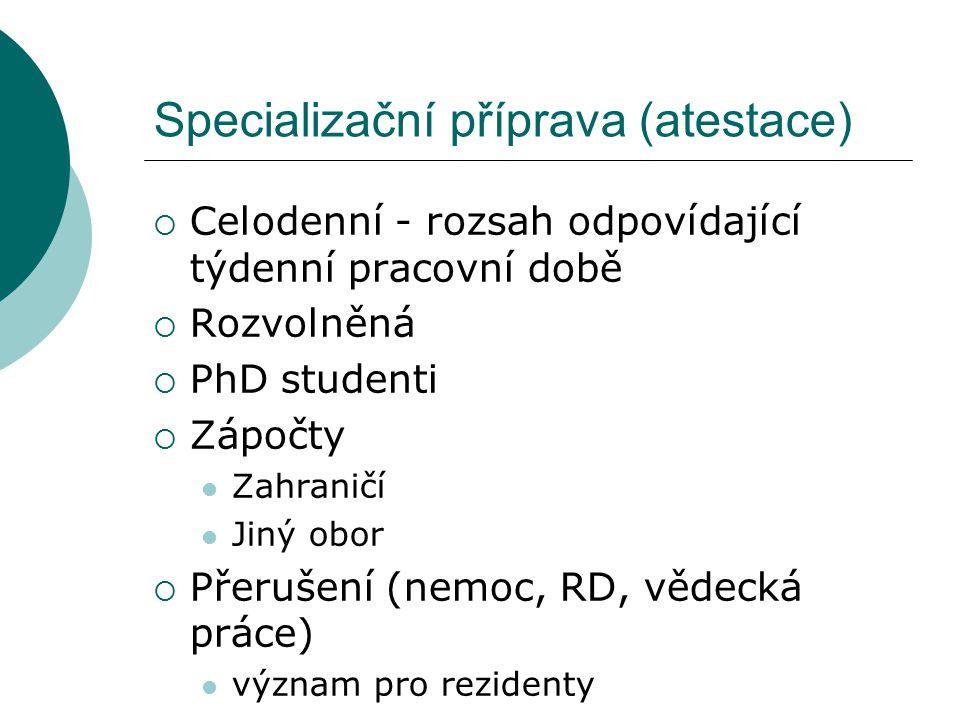 Specializační příprava (atestace)  Celodenní - rozsah odpovídající týdenní pracovní době  Rozvolněná  PhD studenti  Zápočty Zahraničí Jiný obor 